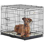 "Milo & Misty 24"" Folding 2 Door Black Puppy & Dog Pet Crate Cage with Plastic Tray"