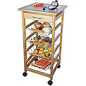 Fab - Wood Kitchen Trolley With Storage Drawers - Natural