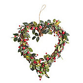 Heart Berry Light Up Christmas Wreath