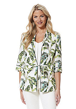F&F Leaf Print Textured Belted Jacket - White & Green