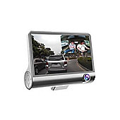 4 Inch 1080P 170 Degree Dual Lens Car DVR Dash Cam G-sensor Recorder + Rear View (Silver)