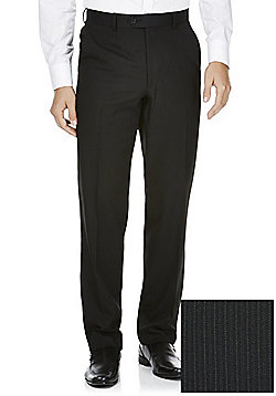 F&F Narrow Stripe Regular Fit Suit Trousers - Black