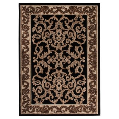 Tesco Low Pile Traditional Scroll Rug Black 120X170Cm