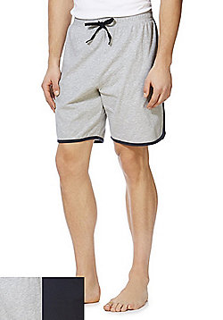 F&F 2 Pack of Lounge Shorts - Navy & Grey