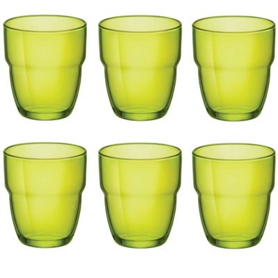 Bormioli Rocco Modulo Stacking Water / Juice Tumbler Glasses - 305ml - Green - Set of 6