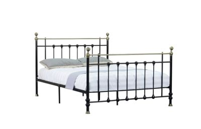 Comfy Living 5ft King Antique Style Metal Bed Frame with Brass Finials in Black with 1000 Pocket Damask Memory Mattress