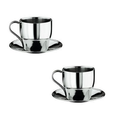 Frabosk Set of 2 Thermally Insulated Stainless Steel Cappuccino Cup and Saucer 8 cm