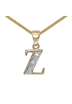 9 Carat Yellow Gold Elegant Diamond-Set Pendant on an 18 inch Pendant Chain Necklace - Inital Z
