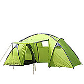 North Gear Camping Trekker Waterproof 6 Man 2 Room Tent - Green