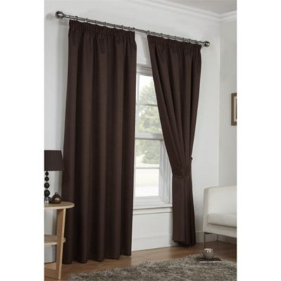 Hamilton McBride Chocolate Luna Pencil Pleat Curtains - 46x54 Inches (117x137cm)