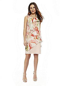 Wallis Floral Asymmetric Layer Dress - Blush Pink