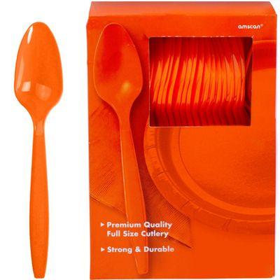 Orange Plastic Spoons - 100 Pack