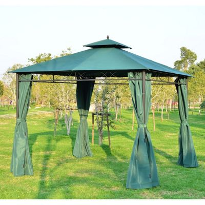 Outsunny 3m x 3m Patio Garden Metal Gazebo Shelter Pavilion w/ Sidewalls - Dark Green