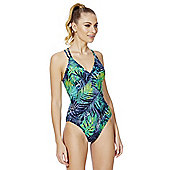 Zoggs Swimshapes Tropical Print Crossback Body Shaping Swimsuit - Green