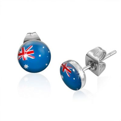 Urban Male Australian Flag Design Resin & Stainless Steel Mens Stud Earrings 7mm