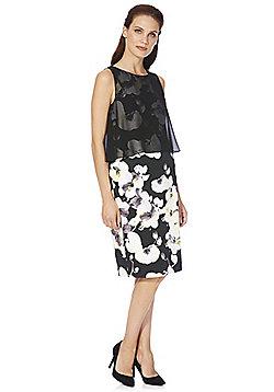 Roman Originals Double Layer Floral Print Scuba Dress - Black