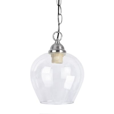 Modern Ceiling Chain Light Brushed Chrome & Bell Shaped Glass Shade