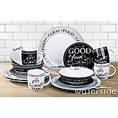 16 Piece Black & White Good Food Dinner Set