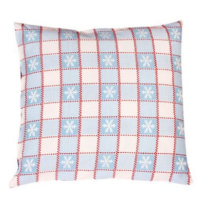 Woven Magic Snowflake Snowhite and Aqua Blue Cushion