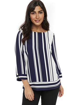 Wallis Stripe Top Navy 10
