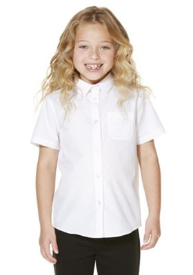 F&F School 2 Pack of Girls Easy Care Short Sleeve Shirts 5-6 years White