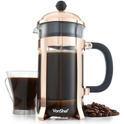 VonShef 8 Cup/1L Copper Finish Cafetiere