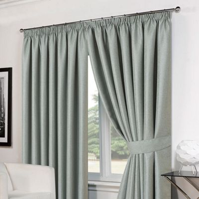 Dreamscene Pair Basket Weave Pencil Pleat Curtains, Duck Egg - 66