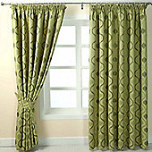 """Homescapes Green Jacquard Curtain Modern Wave Pattern Fully Lined - 66"""" X 72"""" Drop"""