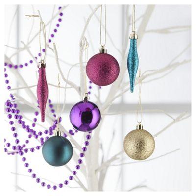 Tesco Decoration Pack, Pink & Purple, 50 Piece