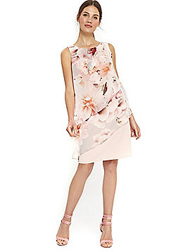 Wallis Floral Asymmetric Tiered Dress - Pale pink