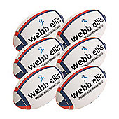 Webb Ellis Trainer Rugby Balls, 6 Pack, Size 5, Navy/Red