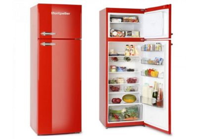 Montpellier MAB345R Retro Fridge with Top Mount Freezer in Red