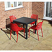 Brackenstyle Madrid Table and 4 Red Orion Chairs - Seats 4