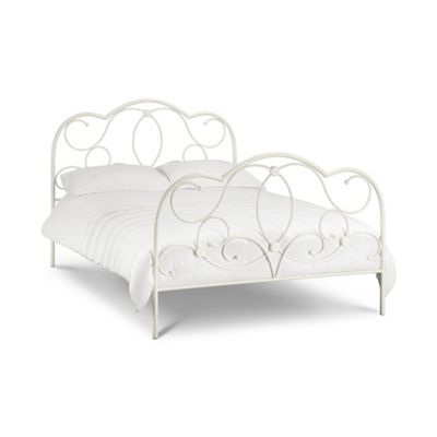 Heritage Stone White Finish Metal Bed Frame King Size High Foot End - 5ft (150cm)