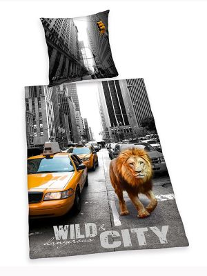 Wild and Dangerous City New York Cotton Single Duvet Cover & Pillowcase Set