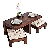 Homescapes Dark Wood Dakota Compact Coffee Table with Two Stools and Seat Pads