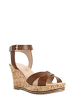 F&F Sensitive Sole Cork Effect Wedges - Brown