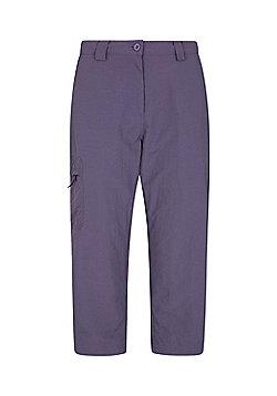 Mountain Warehouse Womens 100% Nylon Explore Capris w/ Elasticated Waistband - Purple
