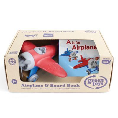 Green Toys Airplane Toy and 'A is for Airplane' Alphabet Board Book - Suitable 1+ Years