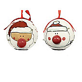 Straits Novelty LED Baubles Set of 2, Santa and Snowman