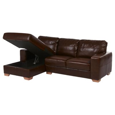 Abbott Left Hand Corner Chaise with Storage, Chocolate Brown