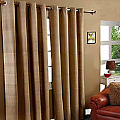 """Homescapes Cotton Rajput Ribbed Beige Curtain Pair, 66 x 72"""" Drop"""