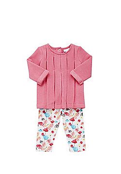 F&F Pleated Sweat Top and Floral Leggings Set - Pink & Multi
