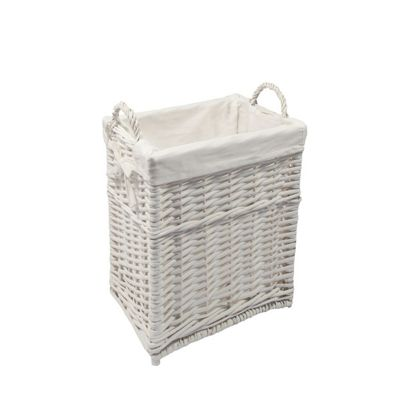 Woodluv Wicker Storage Medium Basket With White Lining- Medium, White