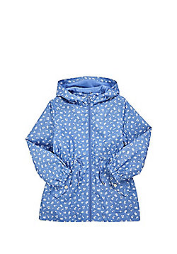 F&F Shower Resistant Lightweight Rain Mac - Blue