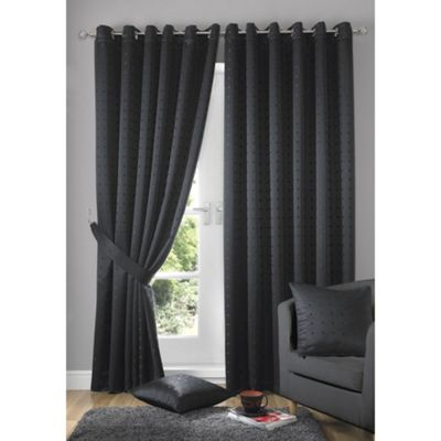 Alan Symonds Lined Madison Charcoal Eyelet Curtains - 66x54 Inches (168x137cm)