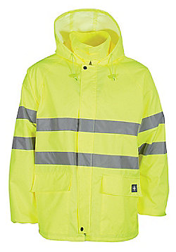 Aspect Men's Waterproof High Visibility Reflective Tape Hooded Coat Jacket - Yellow