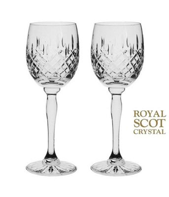 Royal Scot Crystal London Set of 2 Crystal Wine Glasses