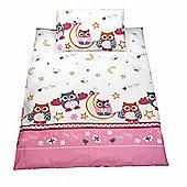 Cot Duvet Cover Sets 100% Cotton - Pink Owls