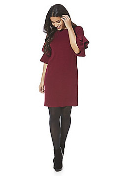 Yumi Double Frill Tiered Sleeve Jumper Dress - Burgundy